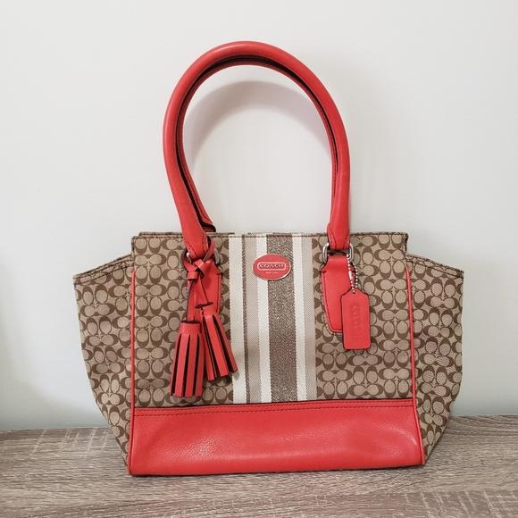 Coach Legacy stripe Candace carryall purse